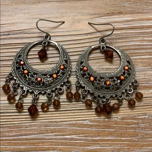 Ethnic dangle earrings with beads